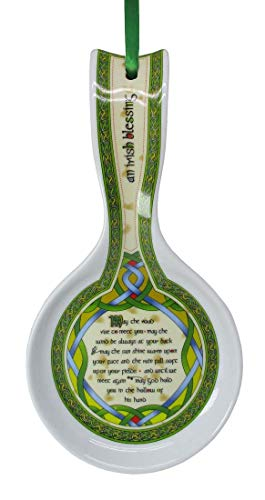 New Bone China Spoon Rest With Irish Blessing And Celtic Design, 22Cm