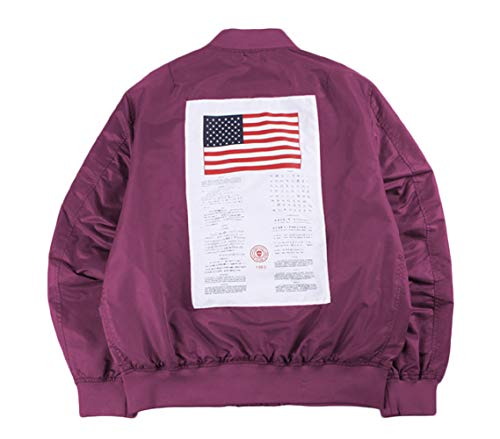 Mens Apollo Space Embroidered Patches Slim Fit Bomber Windbreaker Red Wine NASA Jacket