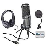 Audio-Technica AT2020USB+ Cardioid Condenser USB Microphone + Pop Filter + Samson Headphone & Clean Cloth