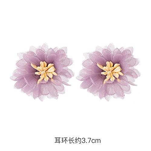 CXWK Pendientes Moda Púrpura Simple Hipster Ear Stud Estilo Coreano Net Red Flower Ear Stud para Mujer