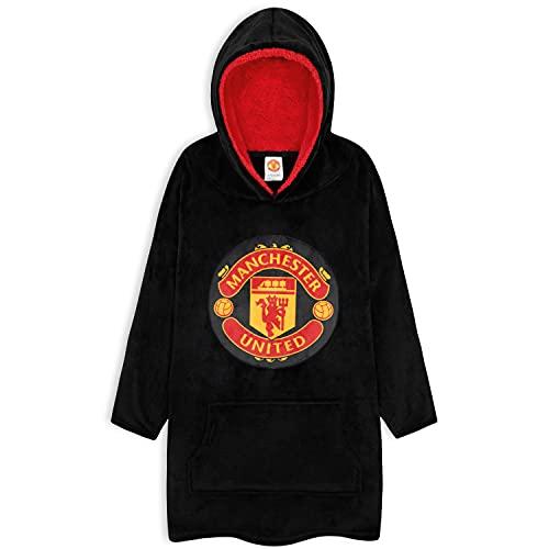 Manchester United F.C. Boys Hoodies, Oversized Hoodie Blanket, Kids Football Gifts (Black)