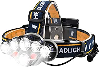 Richlam Rechargeable Headlamp, 8 LED Headlight, 8 Modes with USB Cable 2 Batteries,Super Bright Waterproof Head Torch for Camping,Cycling, Climbing, Hiking, Fishing, Night Reading, Running
