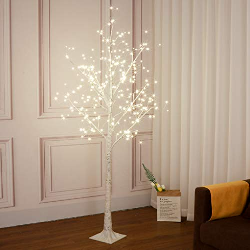 Vanthylit 6FT 288LT White Birch Tree with Fairy Lights Warm White LED Tree for Indoor and Outdoor