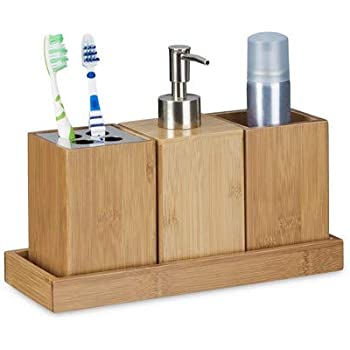 lilizhang Accessori da Bagno Dispenser di Sapone e Tazza per spazzolino Lussuoso per larredamento Ottimo Arredamento Moderno del Bagno Porta Oggetti Bagno-Quattro Pezzi Blu