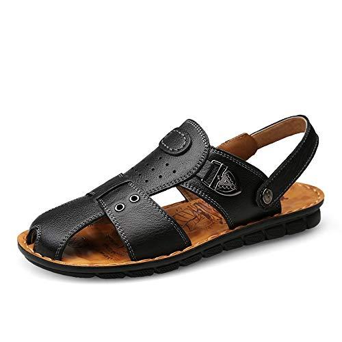 Xingyue Aile Zapatillas y sandalias Zapatillas de playa para hombres al aire libre, sandalias transpirables perforadas de cuero genuino antideslizantes redondas y planas con cierre de hebilla