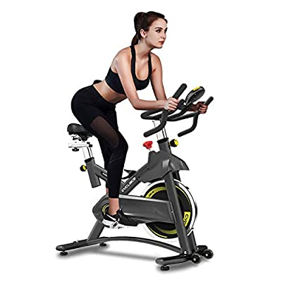 Cyclace Exercise Bike Stationary 330 Lbs Weight Capacity- Indoor Cycling Bike with Comfortable Seat Cushion, Tablet Holder and LCD Monitor for Home Workout (Black-Yellow)