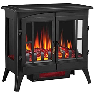 """Joy Pebble New Compact Electric Fireplace Heater, Freestanding Stove Heater with Realistic Flame - ETL Certified - Overheating Protection Small Spaces Heater - 1000/1500W (23.6"""" W x 22.6"""" H)"""