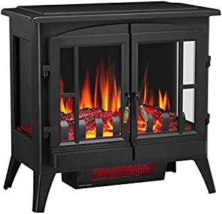 Joy Pebble 3D Infrared Electric Fireplace Stove with Realistic Flame Effect - 1000/1500W Freestanding Space Heater - 5215 (Black)