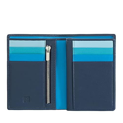DUDU Portafoglio da uomo a libro RFID in pelle multicolore con lampo Blu