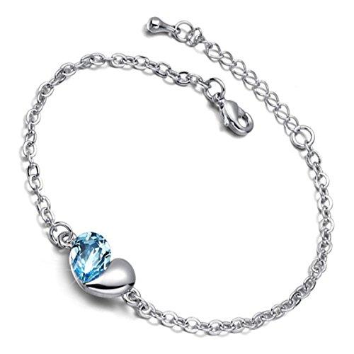 GWG Jewellery Bracciali da Donna Regalo Braccialetto Catenella Placcato Argento Sterling Centrale Cuore Ornato da Goccia in Cristallo Blu-Verde Acquamarina per Donne