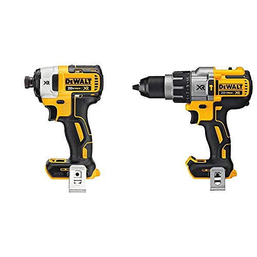 DEWALT 20V MAX XR Impact Driver, Brushless, 3-Speed, 1/4-Inch, Tool Only (DCF887B) & 20V MAX XR Hammer Drill, Brushless, 3-Speed, Tool Only (DCD996B)