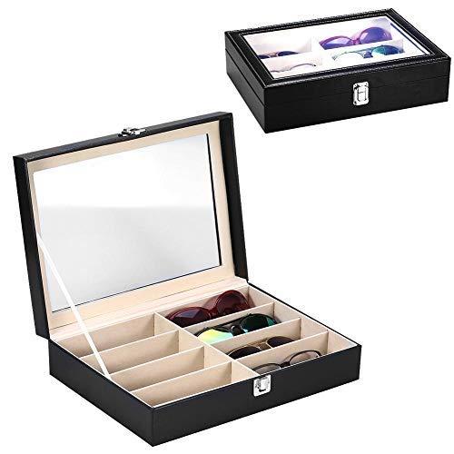 Brino Caja del Almacenamiento de Gafas 8 Girds, Estuche de Organizadora de Gafas de Sol para Exhibición y Organizador