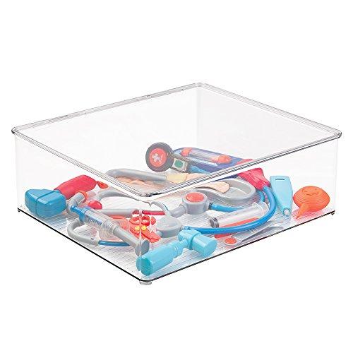 mDesign Cajas de almacenamiento para debajo de la cama – Esta caja con tapa es la perfecta caja para guardar juguetes y mantener el orden – Color: transparente