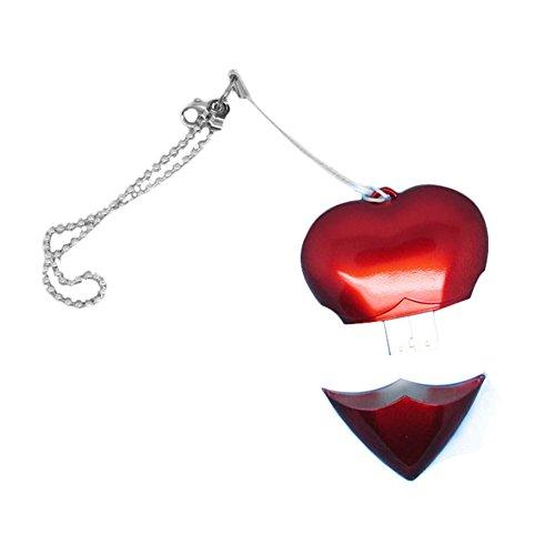 Shuda Chiavette Modello 8 GB, 4GB/8 GB/16 GB/32 GB/64 GB Forma di Cuore Portachiavi Metallo Flash USB PenDrive Stick USB (Rosso)