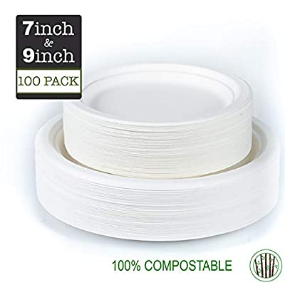 GREENPRINT paper plates, 100% Compostable Plates, [100-Pack] 9 inch and 7 inch Heavy-Duty paper plate, Disposable plates, Eco-Friendly, party plates, Made of Sugar Cane Fibers
