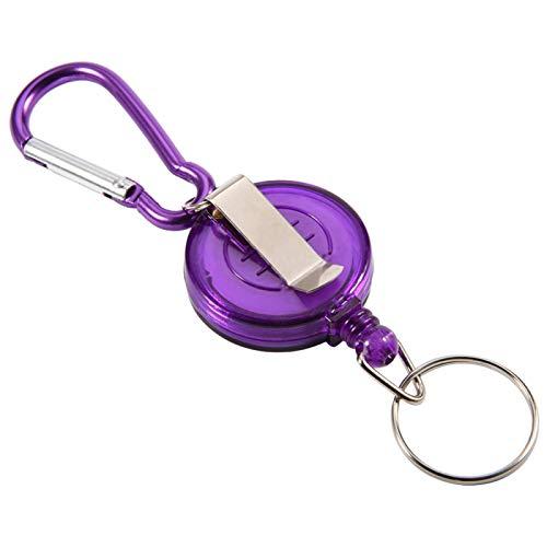 Llavero de carrete retráctil, carrete de soporte de placa retráctil, 3 piezas de herramienta de pesca con mosca, tapón de cuerda de nailon, anillo retráctil, soporte de carrete, llavero(Púrpura)