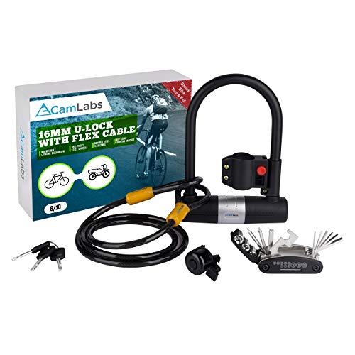 CamLabs - U Lock Bike Lock | Key Lock Bike Lock with Anti Theft Cable | Kit Includes Multi Bike Tool Set & Bike Bell Accessories | Heavy Duty Hardened Steel Chain Lock | Motorcycle & Bicycle Lock