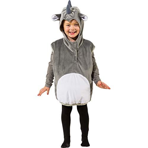 Chaleco de rinoceronte con capucha para nio y nia | Gris-Blanco en talla 99 - 104 cm, 3 - 4 aos | Adorable disfraz infantil de rinoceronte | Remarcable para carnavales infantiles y festivales