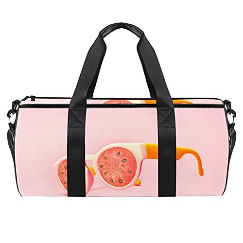Gafas de sol de playa, bolsa de deporte de sandía, bolsa de viaje cilíndrica, bolsa de viaje con bolsillo mojado, bolsa de entrenamiento ligera con correa de hombro para hombres y mujeres