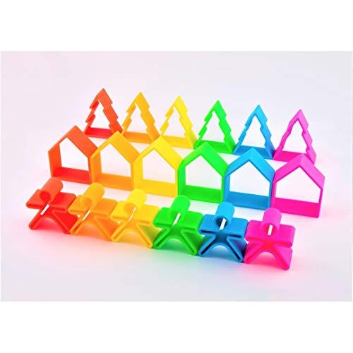 dëna Kid 6X House 6X Tree 6X NEÓN Figuras apilables llenas de Colorido para Que Tus Hijos aprendan a Hacer construcciones
