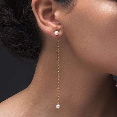 Boucles d'oreilles chaîne en argent sterling 925 perles naturelles blanches faites à la main par Emmanuela, bijoux grecs chics et élégants, boucles d'oreilles longues de style minimaliste pour femmes