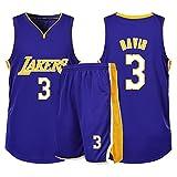 Abbigliamento da Basket per Ragazzi, Maglia Fan Lakers n. 3 Anthony Davis, Abito Sportivo da Basket per Uomo e Donna, Maglia Senza Maniche Pantaloncini t-Shirt-Blue-M