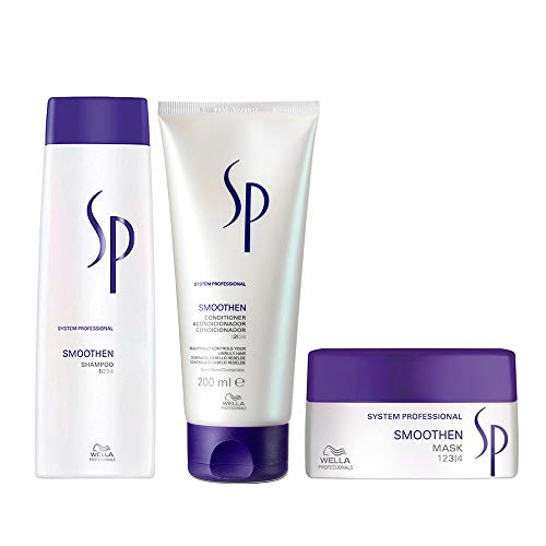 WELLA SYSTEM PROFESSIONAL Kit Smoothen Per Capelli Ribelli e Ricci sh.250 + bals. 200 + mask 200 SP