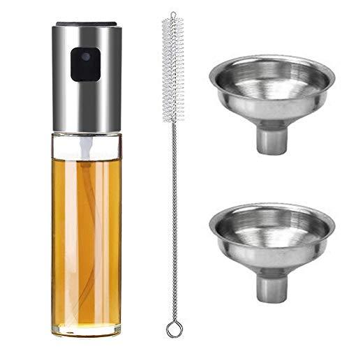 Rocutus Olive Oil Sprayer Dispenser with Clean brush And Funnel,Food-Grade Glass Oil Spray Transparent Vinegar Bottle 100ml,Refillable Multifunction Oil Sprayer for Cooking,Baking,Roasting,Grilling