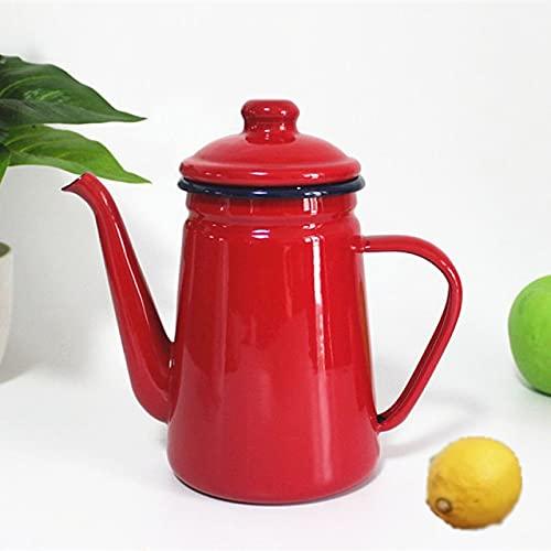 Tiamu Caffettiera Smaltata, 1.1L Teiera Smaltato Bollitori Per Tè, Fornello A Induzione Fornello A Gas Pentola Per Olio E Acetaia Smaltata(Rosso)