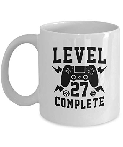WTOMUG Gamer, Birthday Coffee Mug, Funny Gift for Gamer, Birthday - Level 27 Complete Computer Games, Play Station, Wii, Xbox Coffee Cup 11 Oz Novelty Gifts