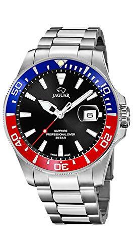 JAGUAR Reloj Modelo J860/F de la colección Executive, Caja de 43,5 mm Negro con Correa de Acero para Caballero