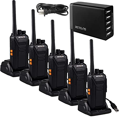 Retevis RT27 Two Way Radios Long Range Rechargeable,Walkie Talkies for Adults,VOX Hands Free,Heavy Duty 2 Way Radio with 5-port USB Charger,for Business Work School(5 Pack)