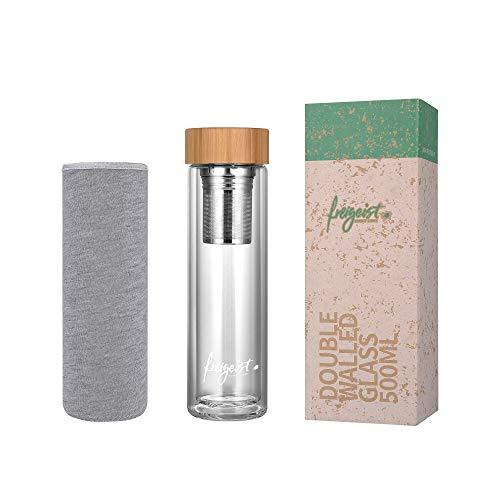 freigeist Teeflasche mit Sieb to go 500ml | Trinkflasche doppelwandige Gläser | Glastrinkflasche BPA frei