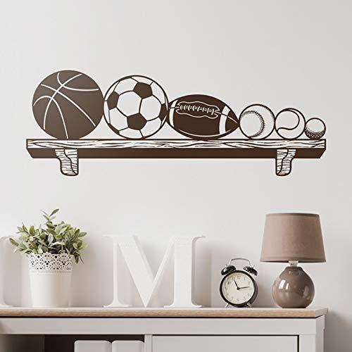 Kinderwandaufkleber Bücherregale mit Bällen Basketball, Fußball, Rugby, Baseball, Tennis und Golf. Ideal für Sportbegeisterte