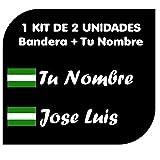Pegatina Vinilo Bandera Andalucia + tu Nombre - Bici, Casco, Pala De Padel, Tablas Skate, Coche, Moto, etc. Kit de Dos Vinilos (Pack Fuentes 2)