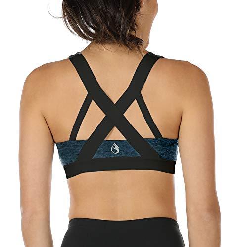 icyzone® Damen Sport-BH mit Starker Halt Gepolstert Bustier Stretch Sports Bra Top Fuer Yoga Fitness-Training (S, Royal Blue*)
