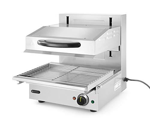 HENDI Salamander 450, Modell 450, Elektrogrill, Elektro-lift, Thermostat stufelos regelbaar bis max. 300°C, Abnehmbare Tropf-/Krümelschale 440x320mm, 230V, 2800W, 480x520x(H)530mm, Edelstahl