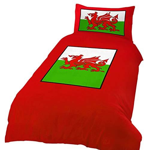 ShawsDirect Wales Flag Welsh Dragon Duvet/Quilt Cover Set Cymru (Single)