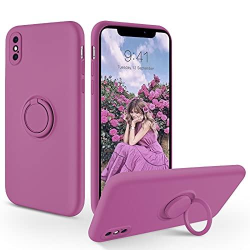 SouliGo iPhone X/XS Hülle, iPhone X/XS Handyhülle Silikon Gel Slim Hülle Cover mit 360 Grad Ring Halter Ständer stabil Kratzfest Hülle für iPhone X/XS 5.8 Zoll Lila