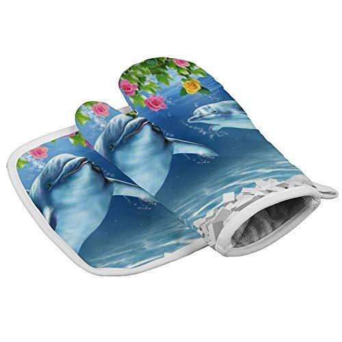 Yutess Hittebestendige geïsoleerde oven wanten pannenlappen Keuken Oven Handschoenen voor het bakken BBQ Grilling 3d Fish Aquarium Ontwerp {Aangepast, Gepersonaliseerd}