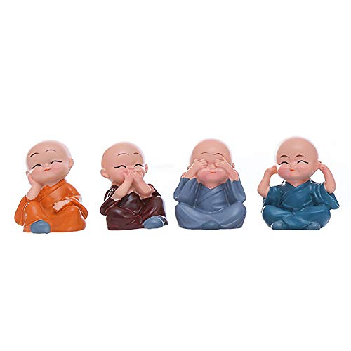 Set of 4 Buddha Monks Statues Miniature Figurines Showpiece, Perfect Decoration for Wall, Shelf Table, Desktop, Car, Home, Office,etc.