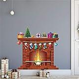 Vinilos Decorativos,Chshe❅,Chimenea De Navidad Collage Creativo Vinilos Decorativos Ventana Vidrio Dormitorio Adhesivos Decorativos