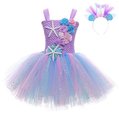 FONLAM Vestido Disfraz de Sirena Niña Bebé Vestido Tutú Princesa Bautizo Fiesta Niña Carnaval Halloween (Morado, 7-8 Años)