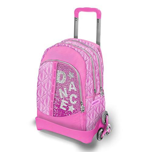 Dimensione Danza Sisters, Zaino scuola con paillettes rosa, trolley bambina 2 ruote triple spazioso con spallacci imbottiti e tasche laterali, zaino impermeabile, Dimensioni 54x37,5x25 cm