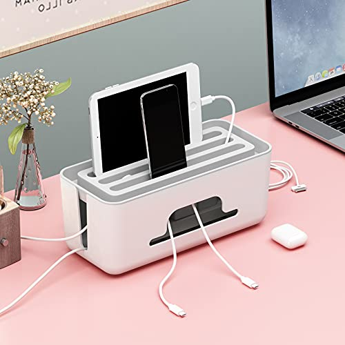 NATRKE - Cable organizador de gran tamaño, con soporte para teléfonos, antipolvo, caja de almacenamiento para cables de pantallas de escritorio TV o ordenador, 31 x 13 x 14 cm