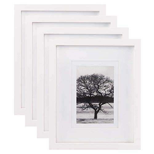 Egofine 8x10 Picture Frames 4 PCS, Made of Solid Wood Display 4x6 and 5x7 with Mat HD Plexiglass, for Table Top Display and Wall Mounting Photo Frame White