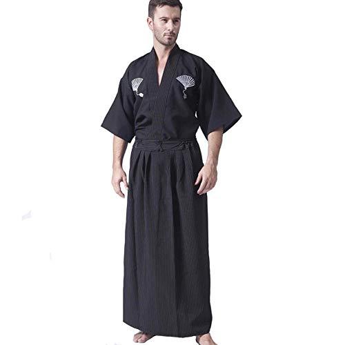 hengGuKeJiYo Kimono japonés clásico Negro Samurai para Hombres Kimono Guerrero con OBI Yukata Tradicional Haori Disfraz de Halloween Talla única