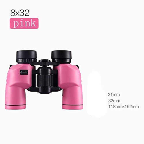 PIGE 8X32 Jumelles pour Adultes Enfants Entièrement Multi-Enduit Optique BaK4 Toit Prisme Azote Randonnée Randonnée Chasse (Couleur : Pink)
