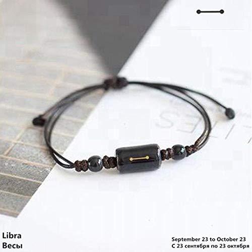 Lederen Armband, Lederen Bangle Verstelbare sterrenbeeld Zodiac Teken Horoscoop Astrologie Keramiek Armbanden Mannen Jongens Vrouwen Meisje Paar Liefhebbers Sieraden
