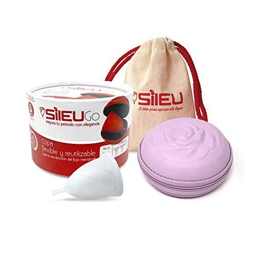 Pack Sileu Go: Coupe menstruelle rose - Modèle d'initiation - Alternative écologique, naturelle aux tampons et compresses - Taille XS, Transparent, Flexibilité Standard + Etui Fleur Rose